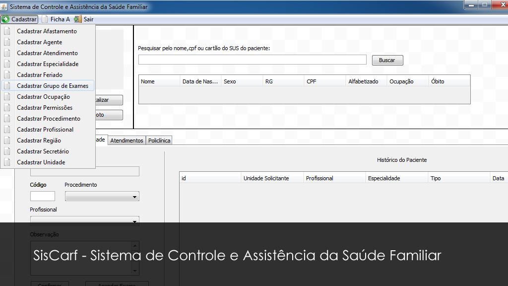SisCasf - Sistema de Controle e Assistência da Saúde Familiar